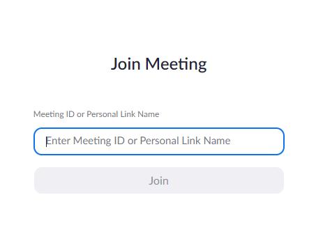 Giao diện để nhập ID vào phòng họp